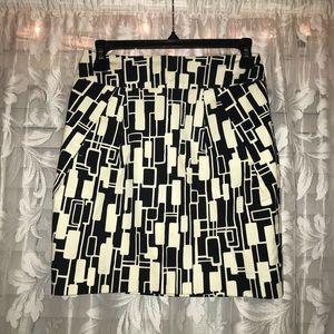 Geometric Black and White Pencil Skirt